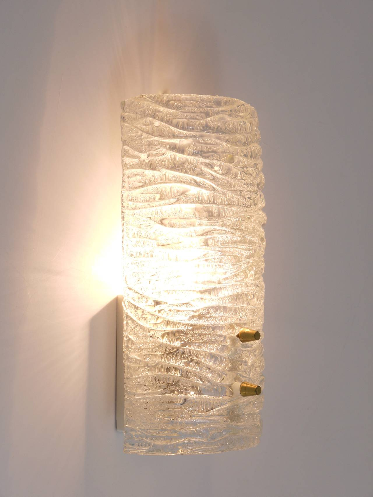 Pair of Mid-Century Kalmar Brass Glass Sconces Wall Lamps, Austria, 1950s 8