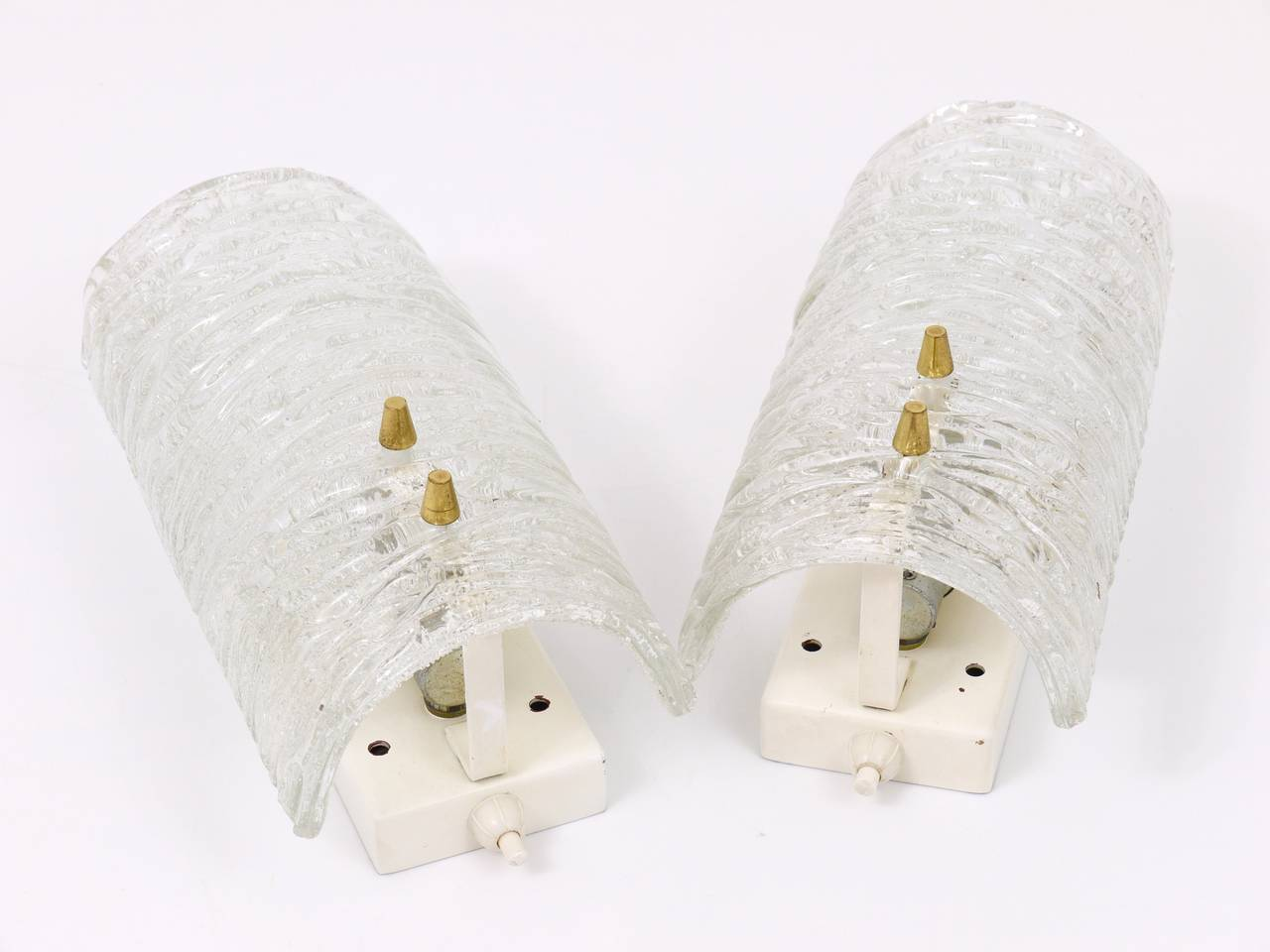 Pair of Mid-Century Kalmar Brass Glass Sconces Wall Lamps, Austria, 1950s 10