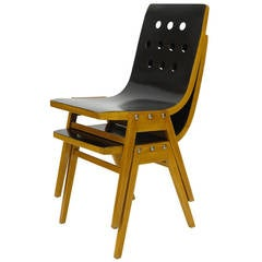 Two Austrian Stacking Chairs by Roland Rainer, 1950s, Emil & Alfred Pollak