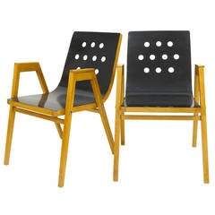 Two Austrian Armrest Stacking Chairs by Roland Rainer, 1950s, Emil & Alfred Pollak