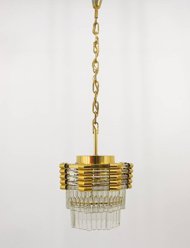 Mid-Century Modern Bakalowits Gold-Plated Brass Chandelier with Crystal Rods, Austria, 1970s For Sale