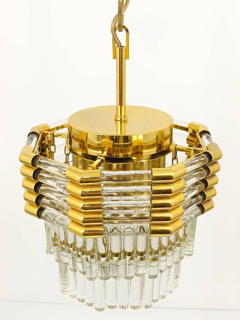 Austrian Bakalowits Gold-Plated Brass Chandelier with Crystal Rods, Austria, 1970s For Sale