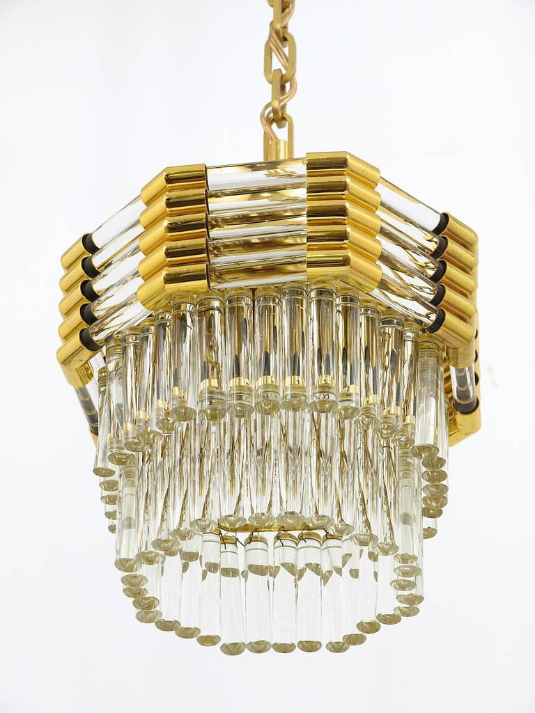 Bakalowits Gold-Plated Brass Chandelier with Crystal Rods, Austria, 1970s For Sale 3