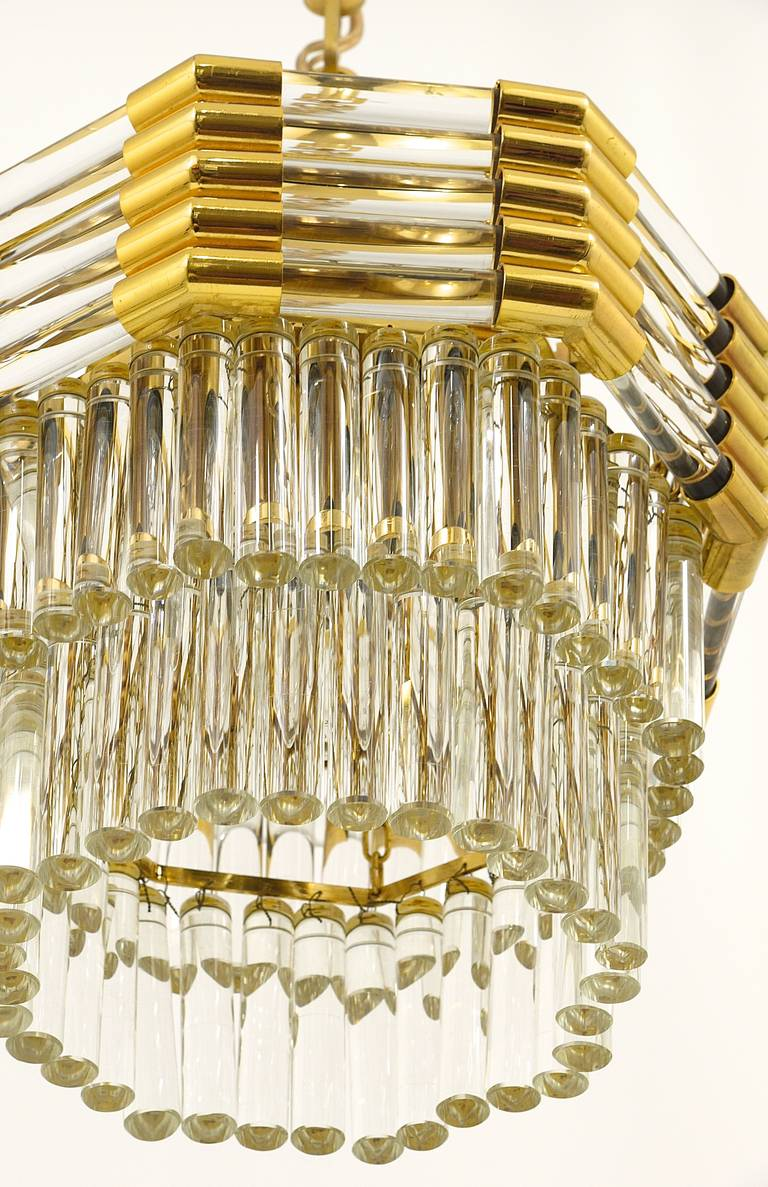 Bakalowits Gold-Plated Brass Chandelier with Crystal Rods, Austria, 1970s For Sale 1