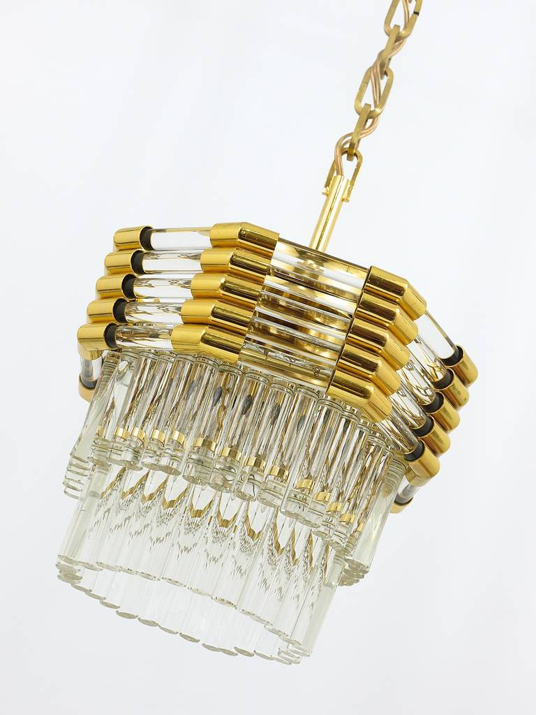 Bakalowits Gold-Plated Brass Chandelier with Crystal Rods, Austria, 1970s For Sale 4
