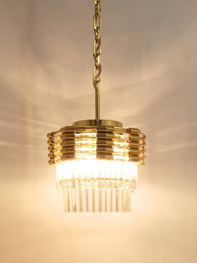Late 20th Century Bakalowits Gold-Plated Brass Chandelier with Crystal Rods, Austria, 1970s For Sale