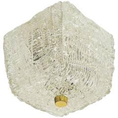 Cubic Kalmar Textured Glass Brass Flush Mount Ceiling Light, Austria, 1950s