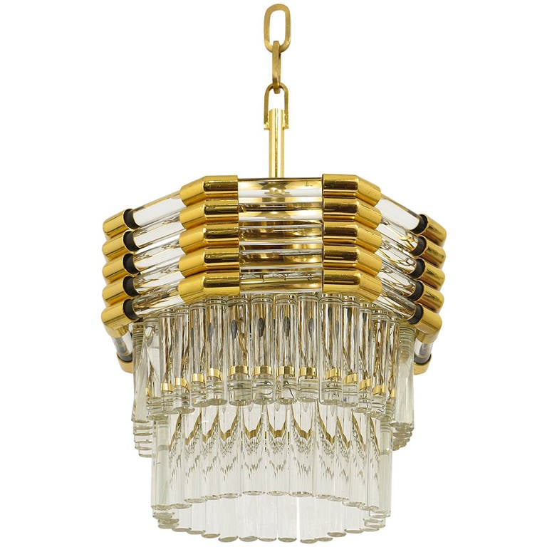 Bakalowits Gold-Plated Brass Chandelier with Crystal Rods, Austria, 1970s For Sale