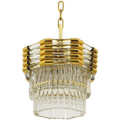 Bakalowits Gold-Plated Brass Chandelier with Crystal Rods, Austria, 1970s
