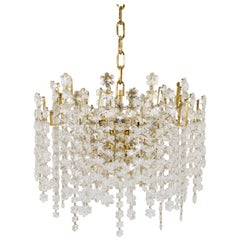 Gold-Plated Bakalowits Snowflake Crystal, Glass and Brass Chandelier, 1970s