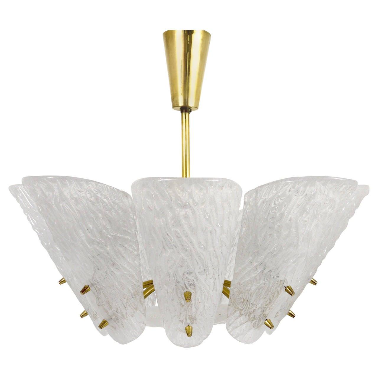 Kalmar Mid Century Brass Chandelier with White Textured Glass Lamp Shades, 1950s
