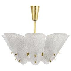 Kalmar Midcentury Brass Chandelier with White Textured Glass Lamp Shades, 1950s