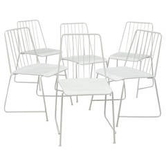"Six White Mid-Century ""Sudbahn"" Wire Chairs by Karasek, Austria, 1950s"