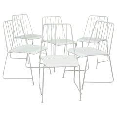 "Six White Mid-Century ""Sudbahn"" Wire Chairs by Karasek, Austria, 1950s"