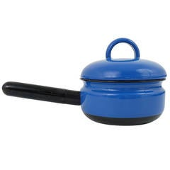 Cook with Carl Aubock Enameled Pot with Lid by Ostovics, Vienna 1970s