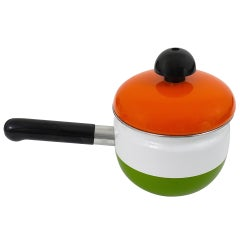 Cook with Carl Aubock Enameled Pot with Lid by Riess, Austria, 1970s