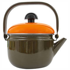 Cook with Carl Aubock Enameled Tea Water Kettle, by Riess Austria, 1970s