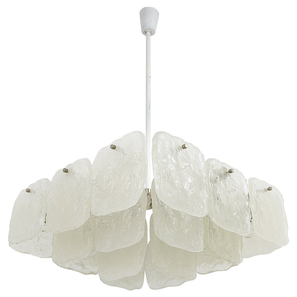 Huge Square Kalmar Chandelier with Frosted Ice Glass Panels, Austria, 1960s