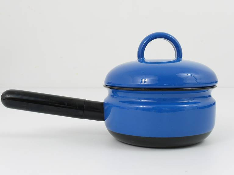 A very beautiful enameled pot with lid, designed by Carl Aubock Vienna, Executed by Ostovics Vienna, 1970s Measures: diameter without handle 6 in blue, dark blue interior excellent condition, unused  We are offering many other Carl Aubock