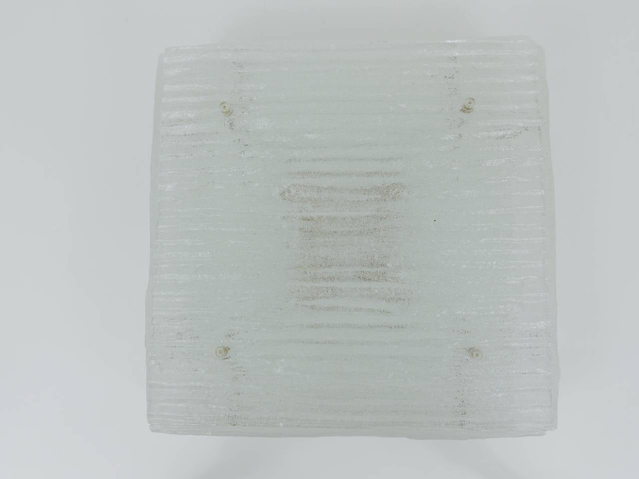 20th Century A Huge Square Kalmar Modernist Textured Glass Flush Mount, Austria, 1960s For Sale