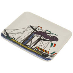 Beautiful Square Steamboat Plate by Piero Fornasetti, Italy, 1970s