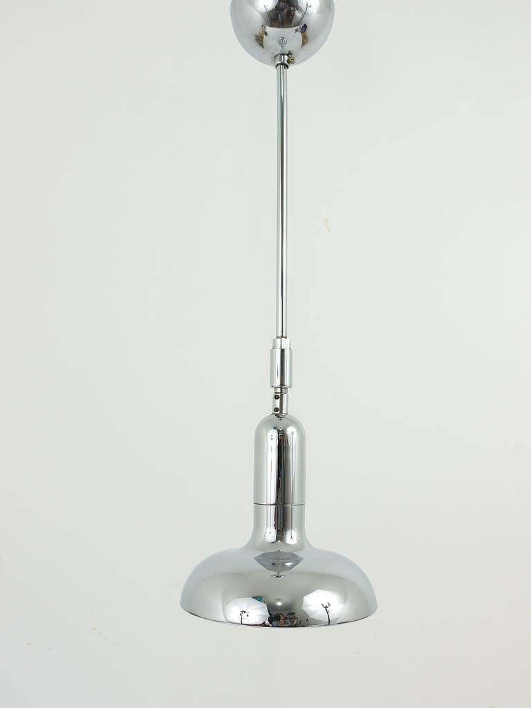 Italian Up to Six Identical Adjustable Pendant Lamps in the Style of Gino Sarfatti, 1970 For Sale