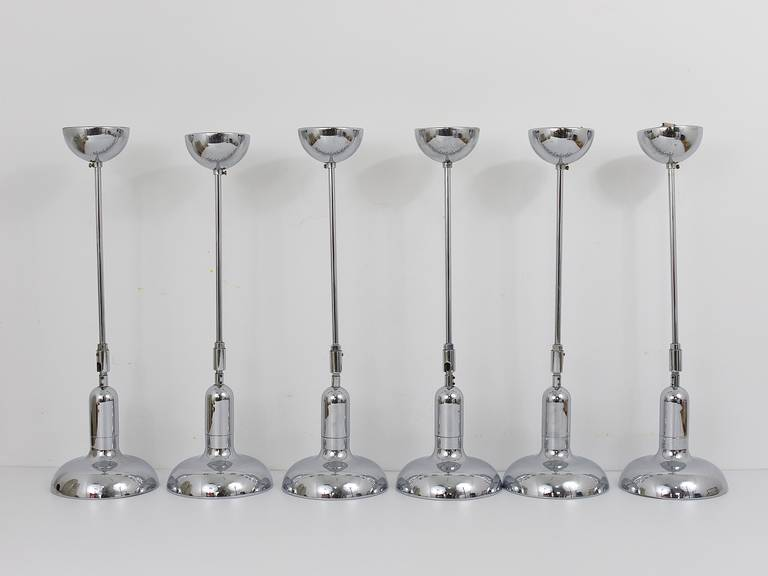 Mid-Century Modern Up to Six Identical Adjustable Pendant Lamps in the Style of Gino Sarfatti, 1970 For Sale