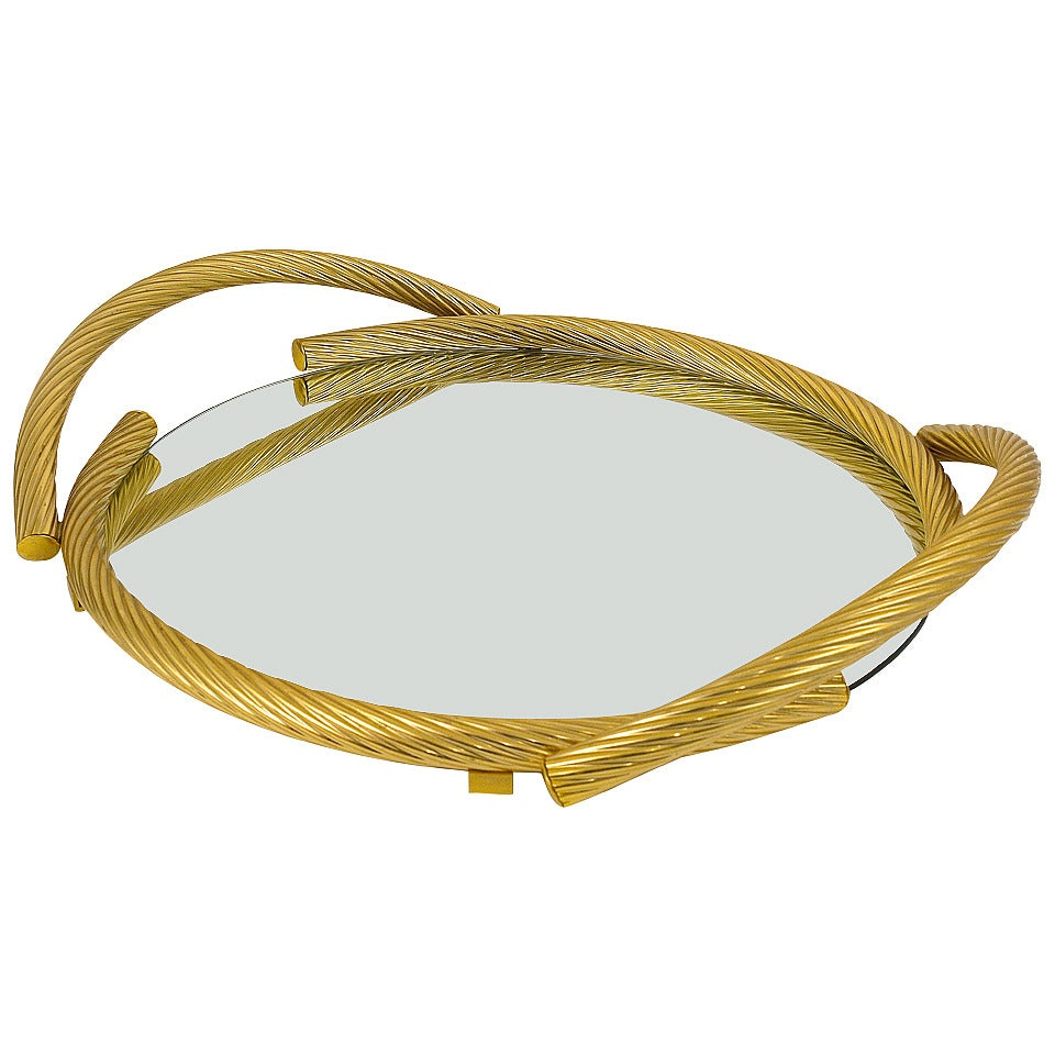 Beautiful French Rope Mirror Serving Tray in Gilded Metal, 1970s