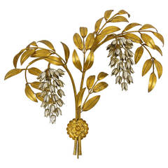 Vergoldeter Metall Palme Wandleuchte Hans Kögl, Deutschland, Maison Jansen-Stil