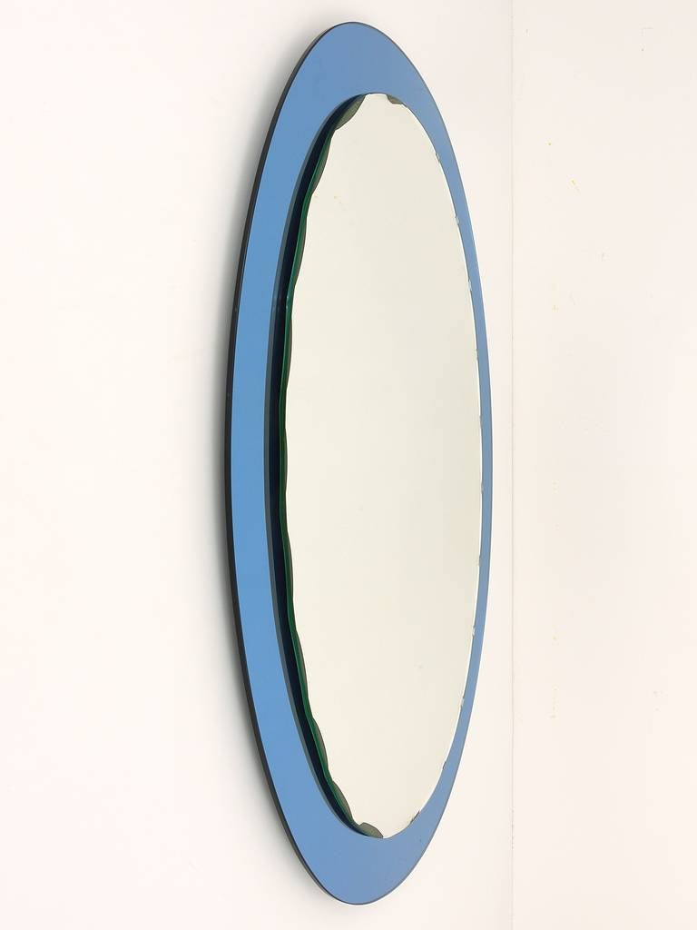 Mid-Century Modern Blue Oval Scalloped Crystal Arte Wall Mirror, Italy, 1960s For Sale