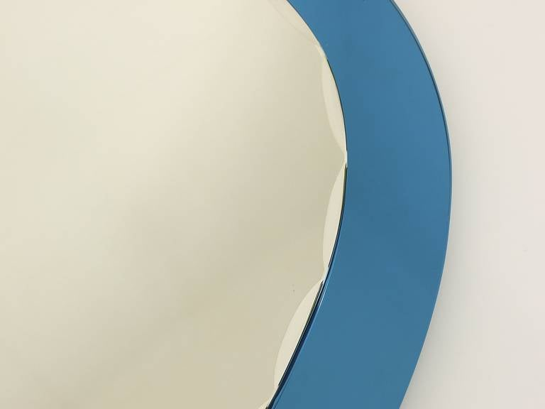 Glass Blue Oval Scalloped Crystal Arte Wall Mirror, Italy, 1960s For Sale