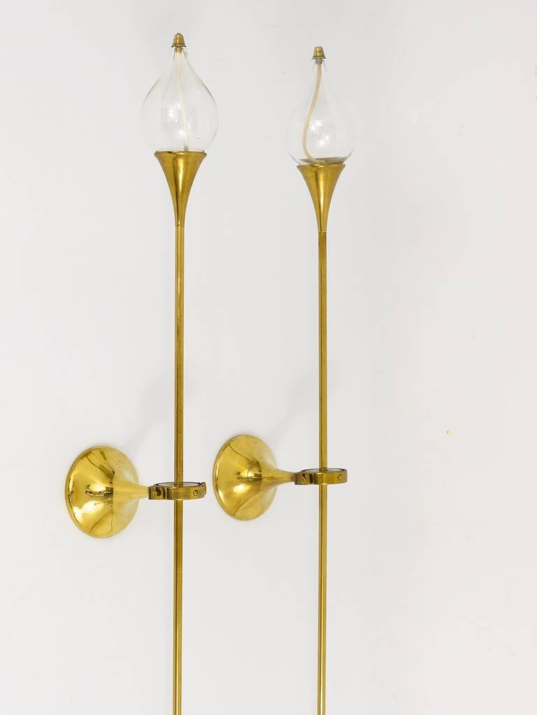 Freddie Andersen Danish Oil Lamp Candle Brass Sconces Wall Lamps, 1970s at 1stdibs