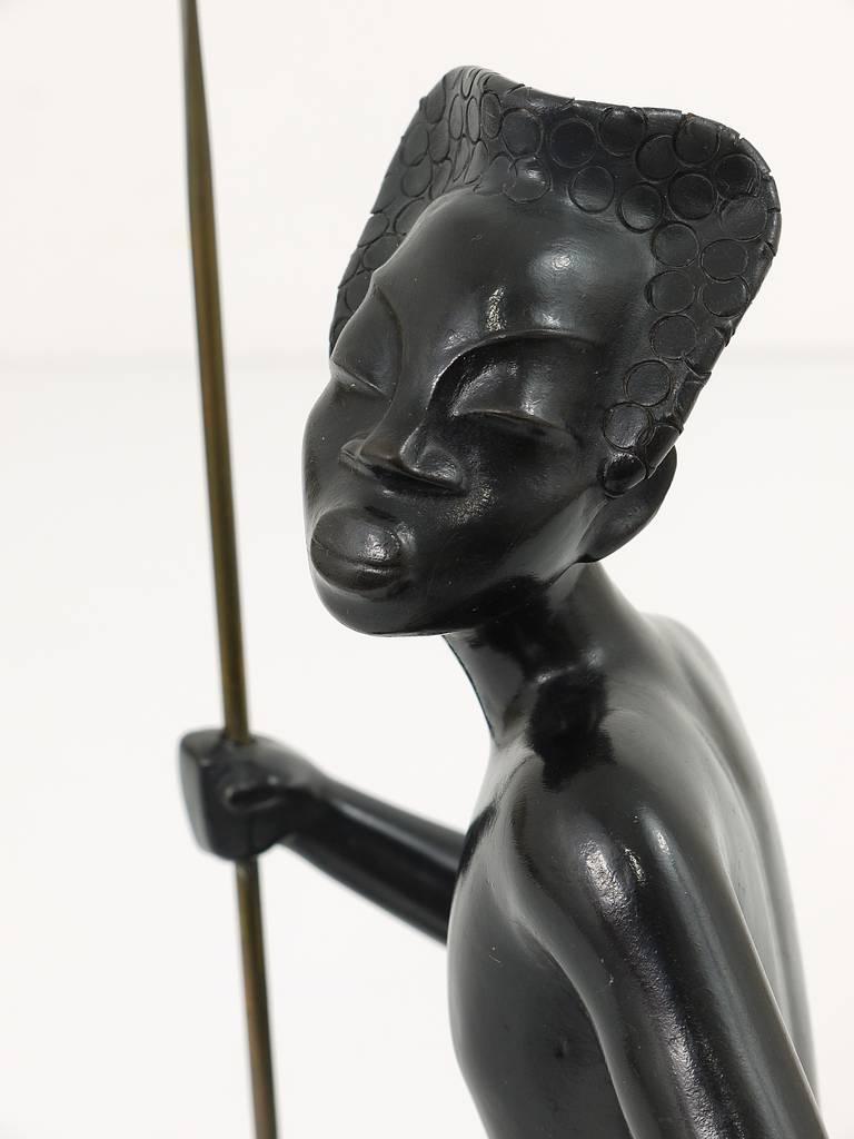 Huge African Watusi Warrior Sculpture by Leopold Anzengruber, Vienna 1950s 3