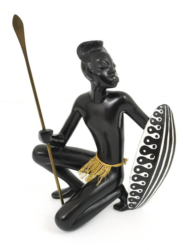 Huge African Watusi Warrior Sculpture by Leopold Anzengruber, Vienna 1950s 5