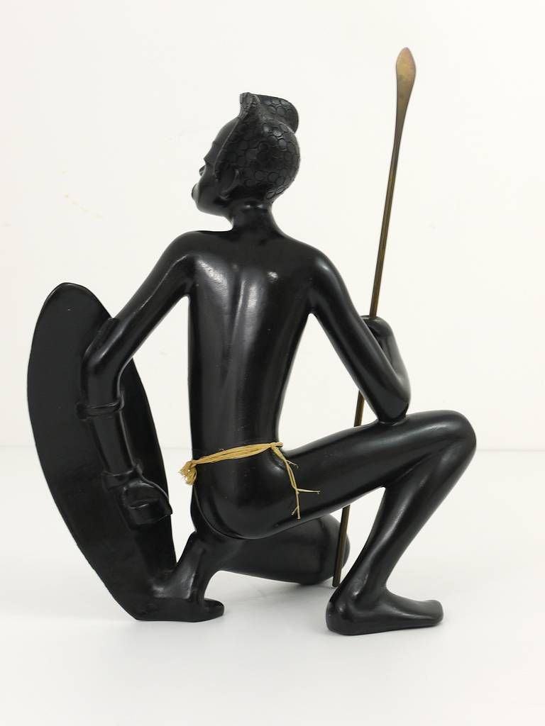 Huge African Watusi Warrior Sculpture by Leopold Anzengruber, Vienna 1950s 7