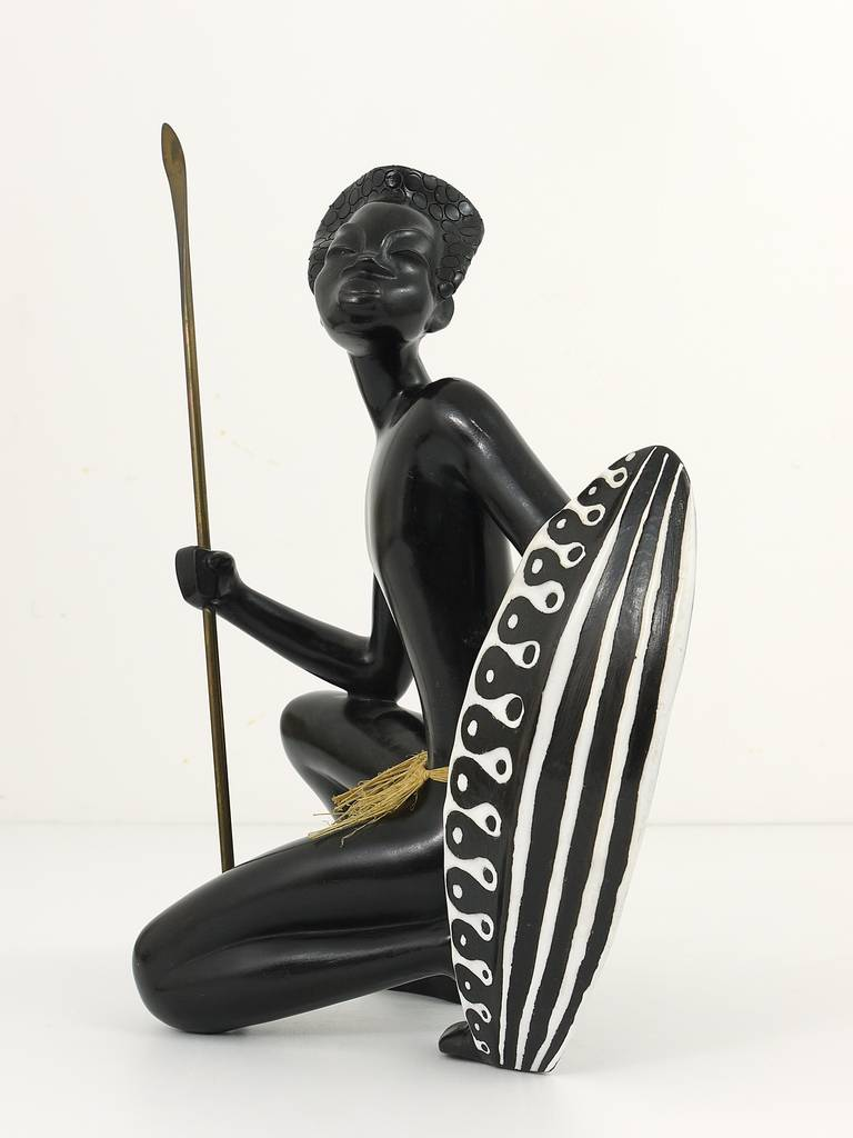 Huge African Watusi Warrior Sculpture by Leopold Anzengruber, Vienna 1950s 8