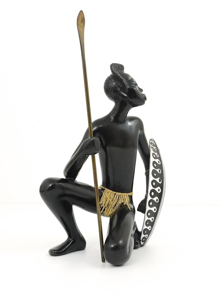 Huge African Watusi Warrior Sculpture by Leopold Anzengruber, Vienna 1950s 9