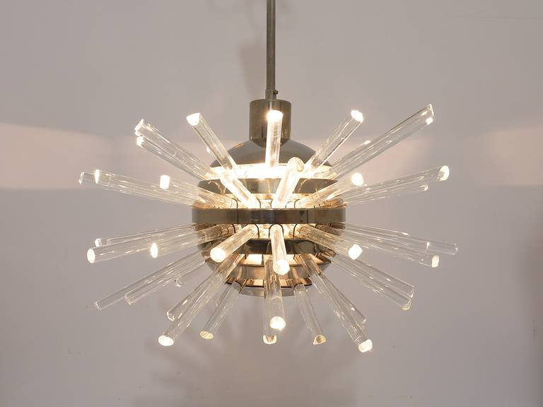Bakalowits Miracle Sputnik Chandelier with Crystal Glass Rods, Austria, 1960s 2