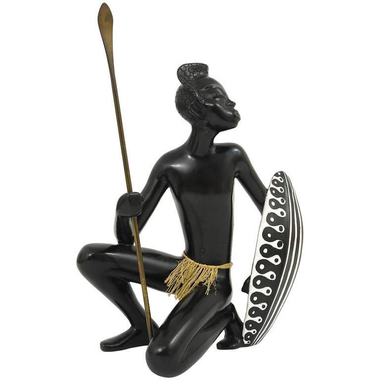 Huge African Watusi Warrior Sculpture by Leopold Anzengruber, Vienna 1950s 1