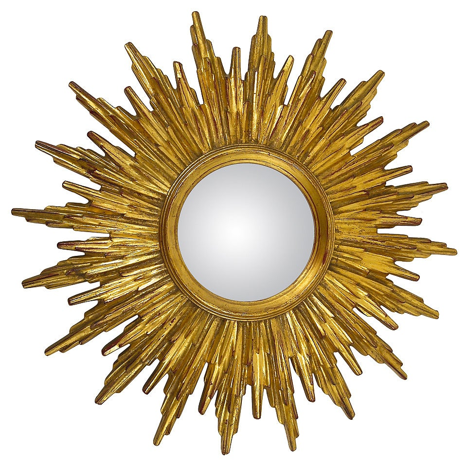 French Gilt Convex Sunburst Starburst Wall Mirror, 1960\'s at 1stdibs