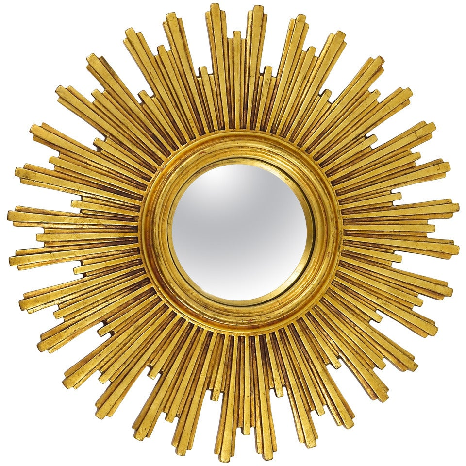 Two Matching Convex Gilt Wood Sunburst Starburst Mirror, France ...