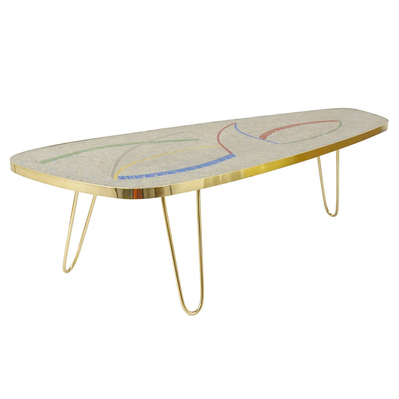 Italian Mid Century Mosaic Tile Coffee Table With Brass Legs, 1950s 1