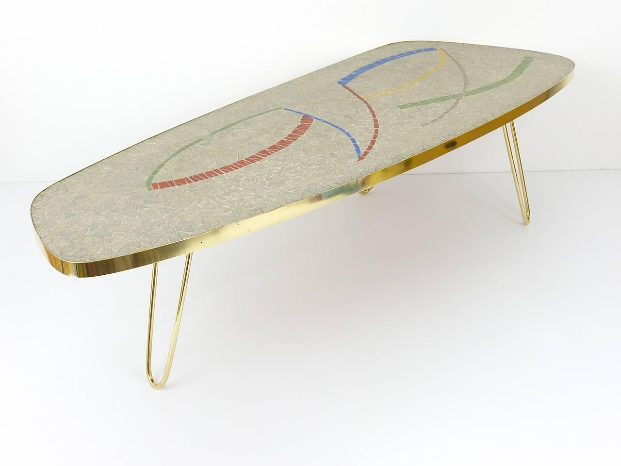 Italian Mid Century Mosaic Tile Coffee Table with Brass Legs