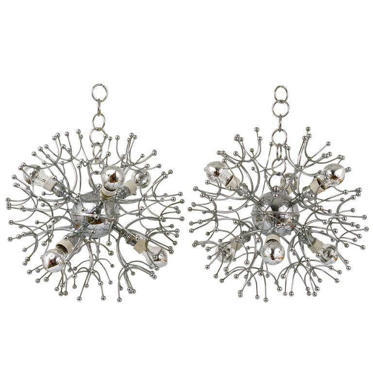 Two Mid-Century Chrome-Plated Sputnik Blowball Chandeliers, Italy, 1960s For Sale