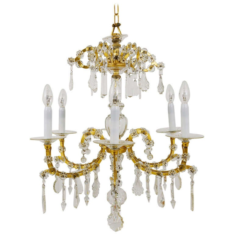 Gilt Lobmeyr Vienna Baroque Crystal Glass Chandelier from the 1940s For Sale
