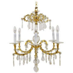 Gilt Lobmeyr Vienna Baroque Crystal Glass Chandelier from the 1940s