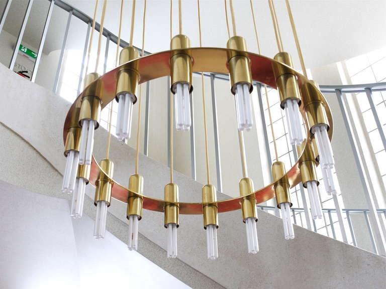 Mid Century Modern Very Large Lobmeyr Vienna Multilevel Stairway Brass  Chandelier For Sale