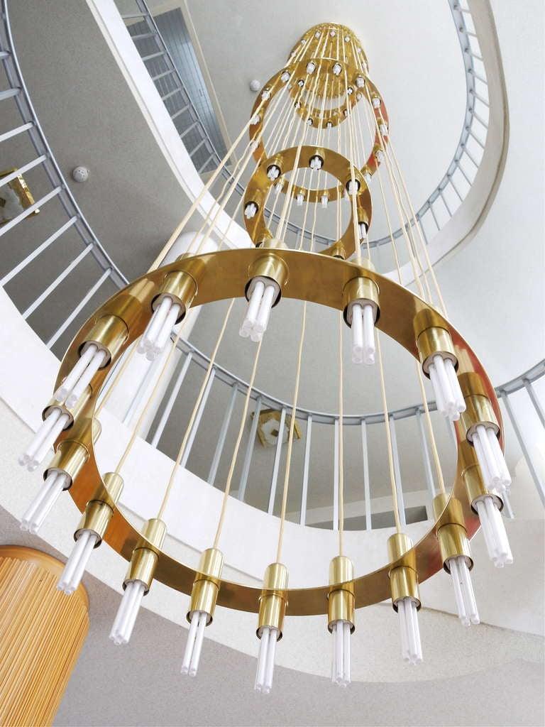 Very Large Lobmeyr Vienna Multilevel Stairway Brass Chandelier At 1stdibs
