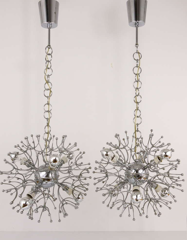 Italian Two Mid-Century Chrome-Plated Sputnik Blowball Chandeliers, Italy, 1960s For Sale