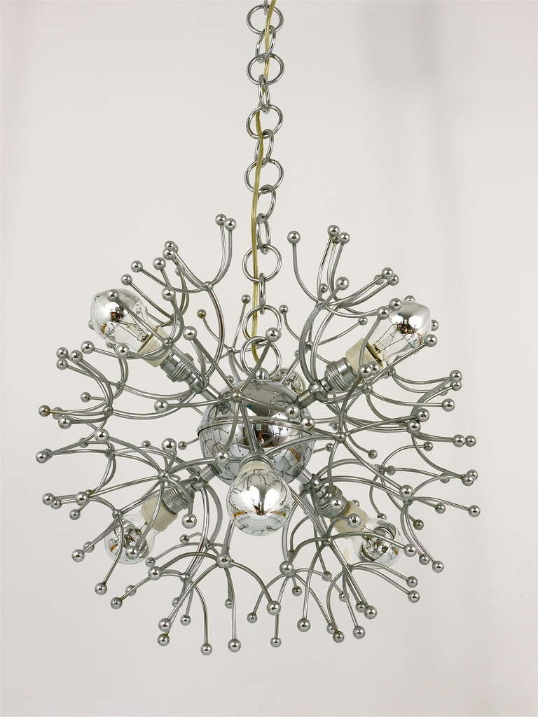20th Century Two Mid-Century Chrome-Plated Sputnik Blowball Chandeliers, Italy, 1960s For Sale